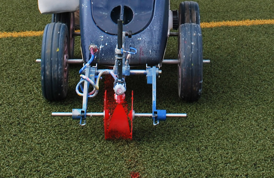 sports line markings on a synthetic surface
